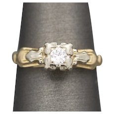Vintage Art Deco Petite Diamond Engagement Ring in 14k White and Yellow Gold