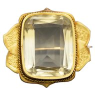 Antique Victorian Golden Lemon Yellow Citrine Quartz Engraved Pin Brooch