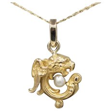 Victorian Griffon Gryphon with Pearl Pendant in 14k Yellow Gold