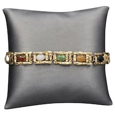 Vintage Jadeite Jade Multi Color Brutalist Bracelet in 14k Yellow Gold