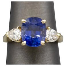 GIA Certified 4.78ctw Ceylon Blue Sapphire and Diamond Ring in 18k Yellow Gold