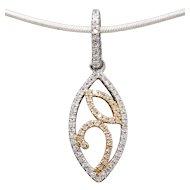 .11ctw Diamond Rose and White Gold Pendant 14k