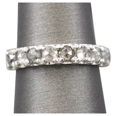 1.58ctw Rose Cut Gray Diamond Band Ring in 14k White Gold Handcrafted