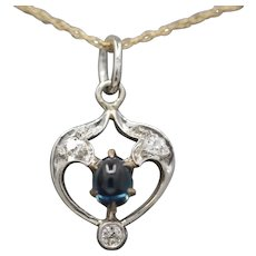 Edwardian Sapphire and Diamond Platinum and Gold Pendant