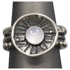 Artisan Crafted Blue Chalcedony Lily Pad Sterling Silver Abstract Ring