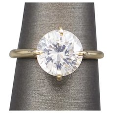Sparkling 3.10ct Moissanite Solitaire Engagement Ring 14k Yellow Gold with Claw Prongs