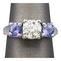 2.03ctw Bold Diamond and Tanzanite Three Stone Engagement Ring 14k White Gold