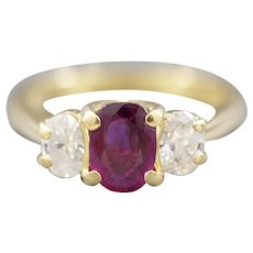 Rich 1.10ctw Natural Ruby and Diamond Oval Three Stone Ring in 18k Yellow Gold