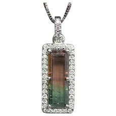Handcrafted Natural Watermelon Tourmaline and Diamond Pendant Necklace 14k White Gold