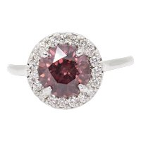 SPARKLING 3.50ctw Rose Pink Red Zircon and Diamond Halo Ring 14k Handmade in USA