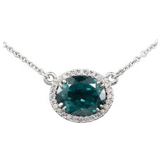 Handcrafted Teal Blue Green Apatite and Diamond Necklace in 14k White Gold