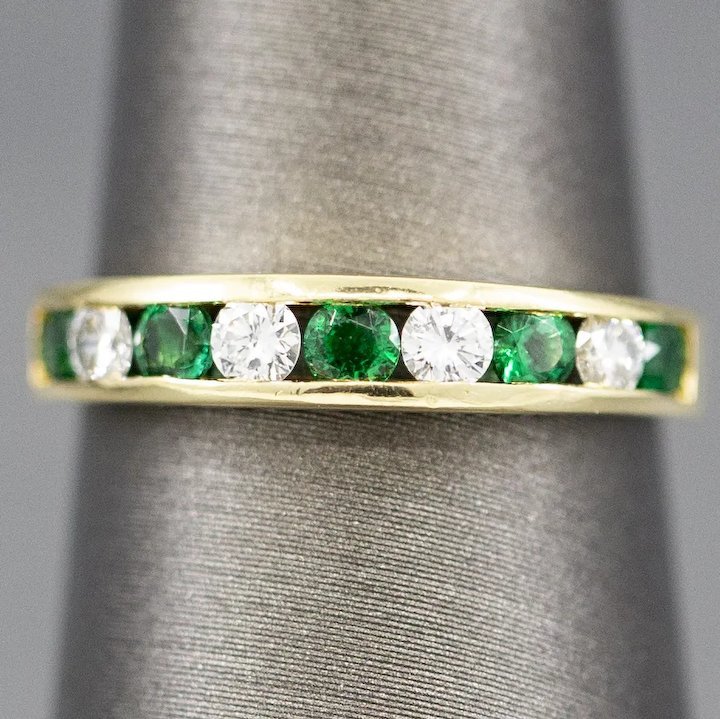 e9332be5397c1 Tiffany and Co Emerald and Diamond Channel Set Band Ring in 18k Yellow Gold
