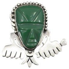 Vintage RAFMEX Mayan Mask Green Onyx Pin Brooch in Sterling Silver