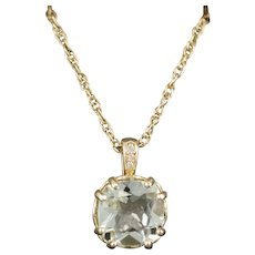 Rare Green Beryl and Diamond 3.10ct Pendant Necklace in 14k Yellow Gold