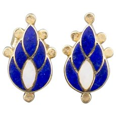 Handcrafted Lapis and Opal Inlay Paisley Flame Earrings in 14k Yellow Gold