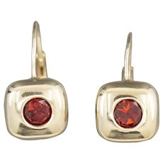 Modern 1.20ctw Red Fiery Garnet Square Leverback Earrings in 14k Yellow Gold