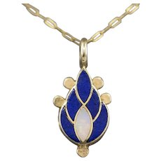 Lapis Lazuli and Opal Inlay Paisley Pendant Necklace in 14k Yellow Gold
