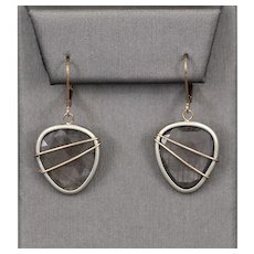 Handcrafted Modern Gray Sapphire Rose Cut Dangle Earrings in 14k Rose Gold and Sterling Silver