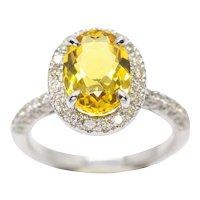 2.50ct Golden Yellow Beryl Heliodor & 0.72ctw Diamond Ring Engagement 14k WG