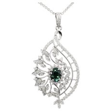 Luxe 3.77ctw Teal Tourmaline and Diamond Bold Pendant Necklace in 18k White Gold