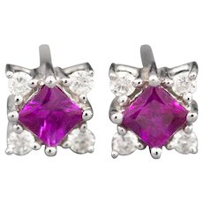 Vibrant 0.70ctw Deep Pink Sapphire and Diamond Stud Earrings in 14k White Gold