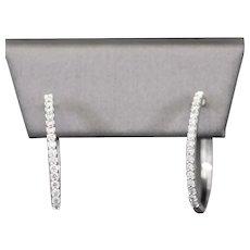 Sparkling 0.50ctw Oval Diamond Hoop Earrings in 14k White Gold