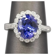 Handcrafted 2.77ct Tanzanite and Diamond Accent Ring 14k White Gold