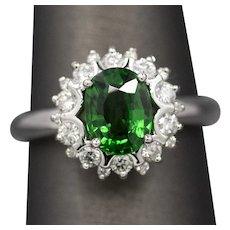Handcrafted 1.88ctw Tsavorite Garnet and Diamond Ring in 18k White Gold