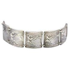 Peruvian Silver Panel Bracelet with Ancient Prayer & Llama Industria Peruana 900