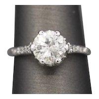 Heirloom 1.67ctw Vintage Diamond Engraved Engagement Ring in Platinum