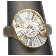Vintage 2.68ctw Diamond Ring with Ballerina Baguette Setting 14k Yellow Gold