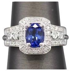 Vivid 1.24ctw Tanzanite and Diamond Vintage Inspired Ring in 14k White Gold