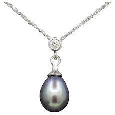 Handcrafted Drop Black Pearl and Diamond Pendant Necklace in 14k White Gold