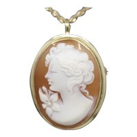 Vintage Carved Cameo Convertible Pendant Brooch in 18k Yellow Gold
