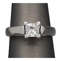LEO Square Cut 0.71ct Diamond Solitaire Ring in 14k White Gold
