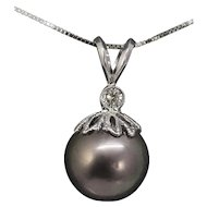 12mm Gray Purple Tahitian Pearl and .17ct Diamond 18k White Gold Necklace