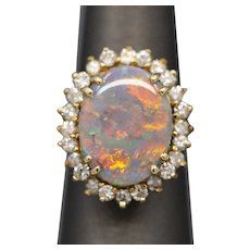 Outstanding Black Opal and Diamond Cocktail Ring in 14k Yellow Gold