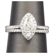 Sparkling Marquise Diamond GIA Certified Engagement Ring and Pave' Wedding Band