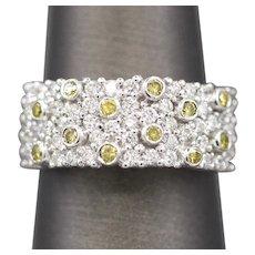 Brilliant 1.00ctw Yellow Diamond and White Diamond Band Ring in 14k White Gold