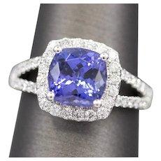 Vivid 2.22ctw Cushion Cut Tanzanite and Diamond Ring in 14k White Gold