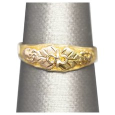 Vintage Black Hills Gold Leaves and Grapes Band Ring in 10k Yellow Gold