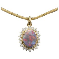 Mosaic Black Opal and Diamond Enhancer Pendant in 14k Yellow Gold