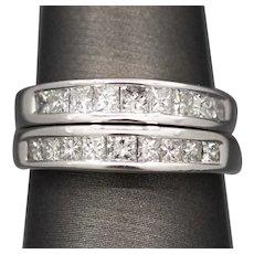 Set of 2 Princess Cut Diamond Band Rings 1.20ctw in 14k White Gold