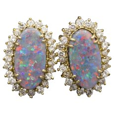 Stunning Mosaic Black Opal and Diamond Omega Back Earrings in 14k Yellow Gold