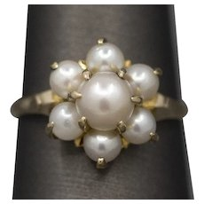 Vintage Akoya Pearl Cluster Ring in 10k Yellow Gold