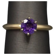 Vintage 0.75ct Amethyst Solitaire Engagement Ring in 14k Yellow Gold