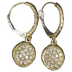 Artisan Pave' Diamond 0.36ctw Dangle Half Hoop Earrings in 14k Yellow Gold