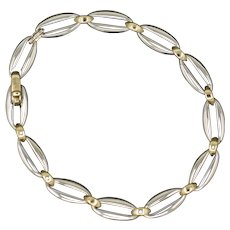 Chiampesan Two Tone Link Bracelet in 18k White and Yellow Gold