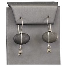 Vintage Rebecca Bashara Carved River Stone Earrings in Sterling Silver