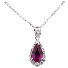 Handcrafted 4.59ctw Vivid Pink Tourmaline and Diamond Pendant Necklace in 18k WG